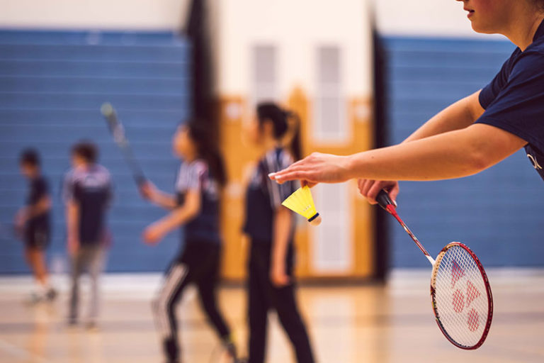person playing badminton