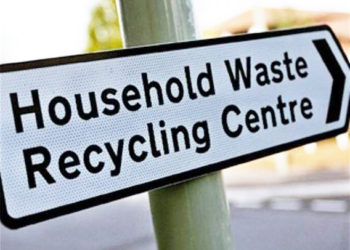 Household waste recycling centre sign
