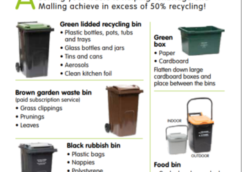 a leaflet depicting different types of waste and recycling bins. Specific information bin types available on TMBC website www.recycleforall.tmbc.gov.uk/