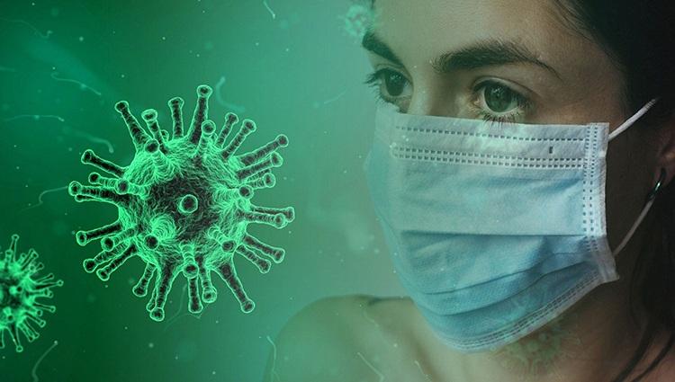coronavirus and woman wearing a mask